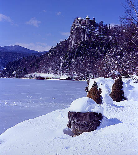 Lake Bled and Castle in Winter